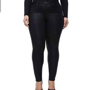 Good American Good Legs Waxed Jeans Black 18